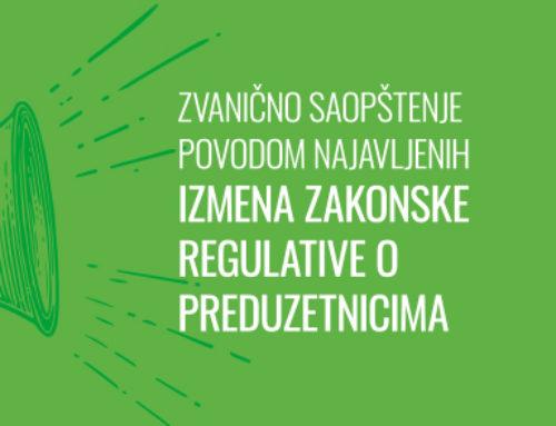 Zvanično saopštenje povodom najavljenih izmena zakonske regulative o preduzetnicima